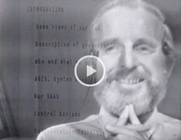 Doug Engelbart picctred in 1969 demo